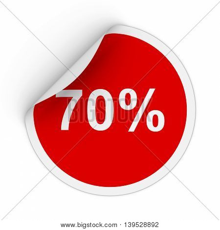 70% - Seventy Percent Red Circle Sticker With Peeling Corner 3D Illustration