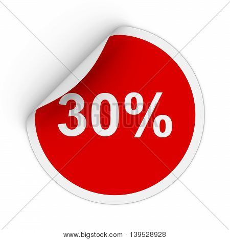 30% - Thirty Percent Red Circle Sticker With Peeling Corner 3D Illustration