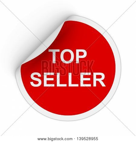 Top Seller Text Red Circle Sticker With Peeling Corner 3D Illustration