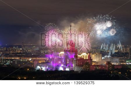 Lomonosov Moscow State Universityfireworks on the day of the city. View from a height
