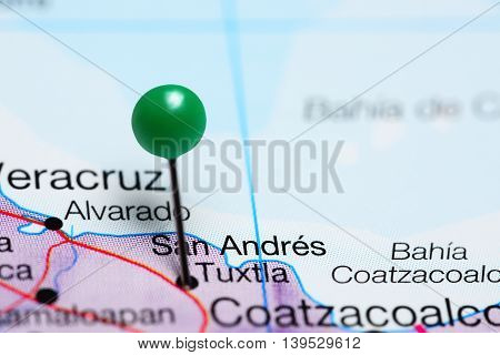 San Andres Tuxtla pinned on a map of Mexico