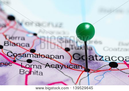 Acayucan pinned on a map of Mexico