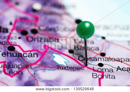 Tuxtepec pinned on a map of Mexico
