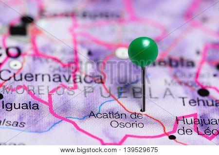 Acatlan de Osorio pinned on a map of Mexico