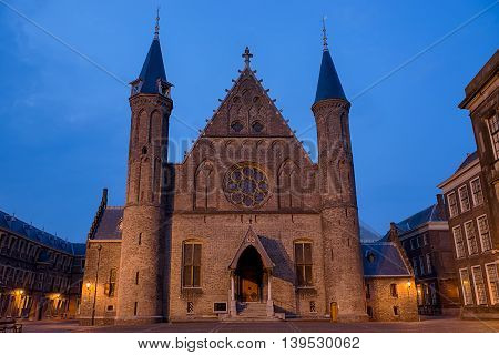 View on the Ridderzaal at the Binnenhof Dutch Parliament Building in the Hague the Netherlands in the evening