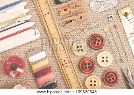 Flat layout sewing tools placed on the fabric
