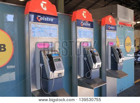 MELBOURNE AUSTRALIA - JULY 16, 2016: Telstra public phone - Telstra is the largest telecommunications and media company in Australia.