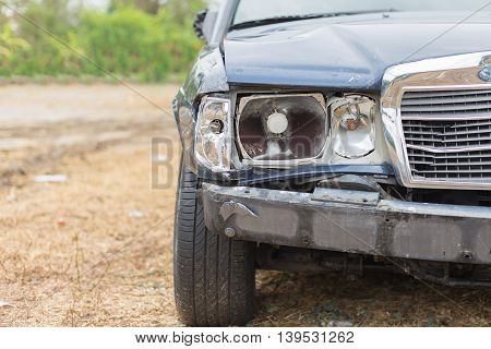 car crash accident damaged automobiles . Business insurance.