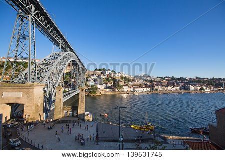 PORTO, PORTUGAL - JUL 9, 2016: View of Douro river and coasts of Ribeira and of Vila Nova de Gaia. City of Porto won the European Best Destination 2012 and 2014 awards.