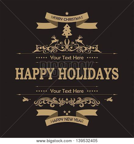Christmas decoration with black background for you design