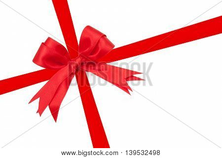 Red Ribbon Double Bow On White Background Preparation For Gift Wrapping