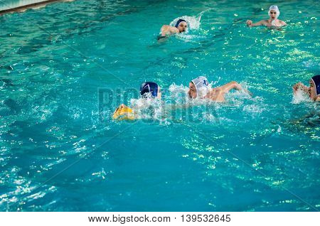 Orenburg, Russia - 6 May 2015: The Boys Play In Water Polo