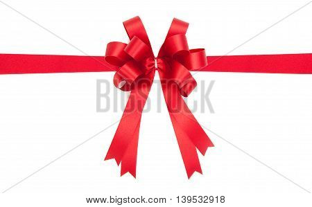 Beautiful Red Bow From Satin Ribbon