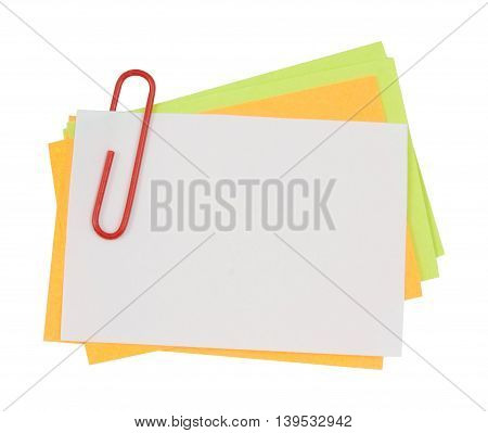 Multi Color Note With Red Paper Clip
