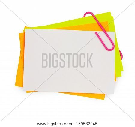 Multi Color Note With Pink Paper Clip