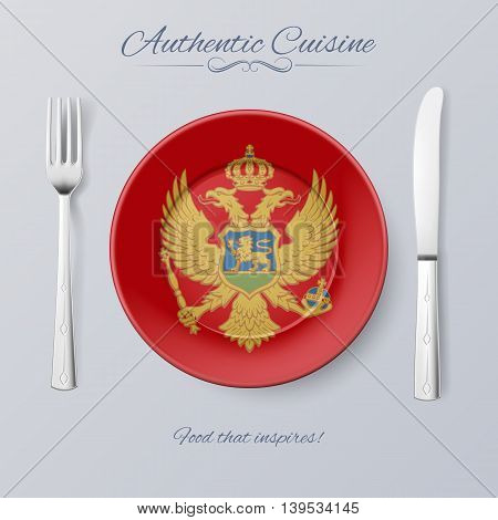 Authentic Cuisine of Montenegro. Plate with Montenegrin Flag and Cutlery