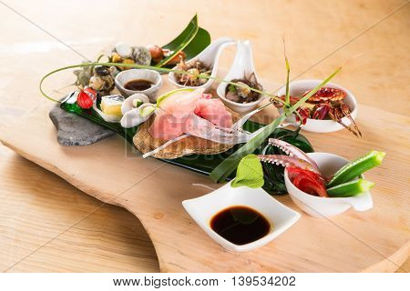Meal of sushi from seafood with octopus tuna mussel and crab