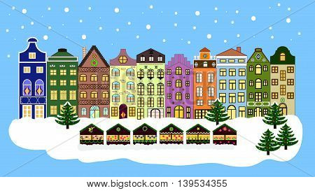 Vector xmas card with a decorated snowy old town at Christmas eve. Christmas background 16:9.