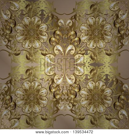 Vintage pattern on golden gradient background with golden elements.