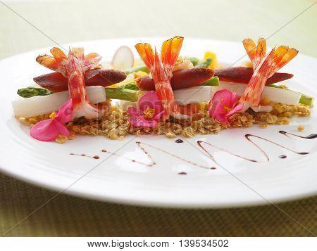Shrimp salad in white plate in asian restaurant