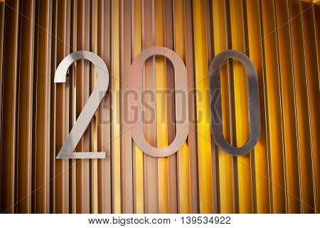 Two Hundred number on a building wall
