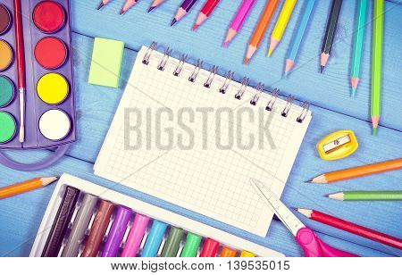School Accessories On Boards, Back To School Concept, Copy Space For Text In Notepad