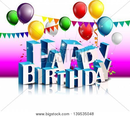 Realistic colorful of Birthday background with balloon