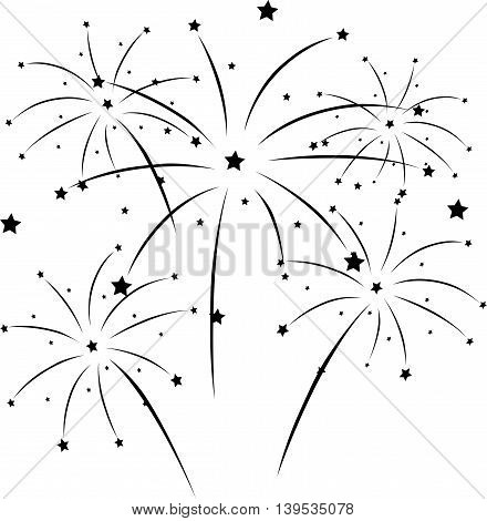beauty silhouette of fireworks for you design