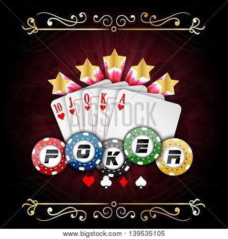 Illustration of Playing cards with poker chips