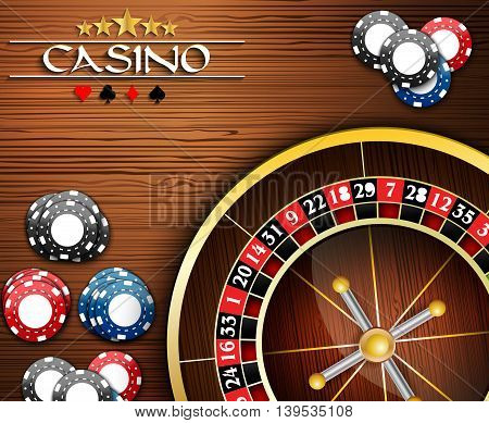 Illustration of Casino Chips and Roulette Wheel