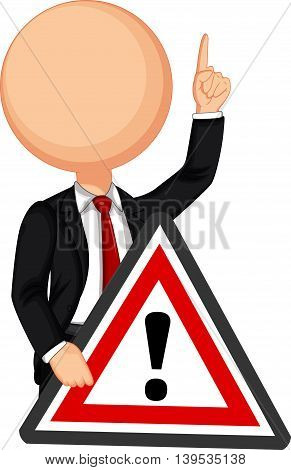 Businessman holding a red traffic triangle warning sign