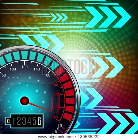 Illustration of Speedometer with effect glowing background