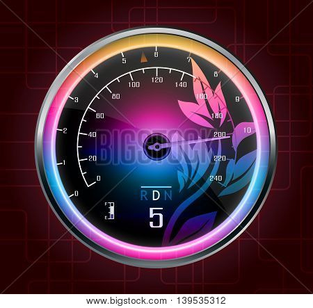 Illustration of Speedometer abstract on red background