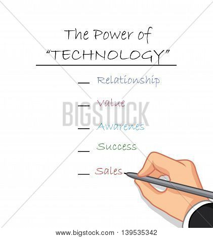 male hand writing the power of technology