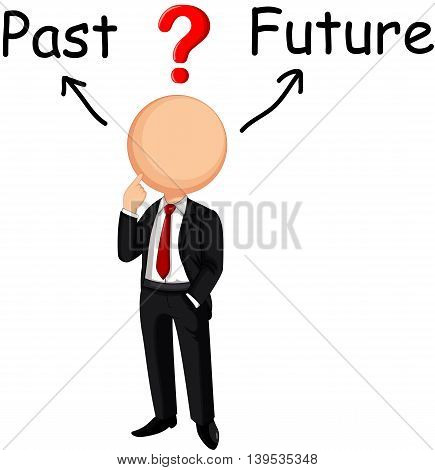 Businessman cartoon confused choose past or future