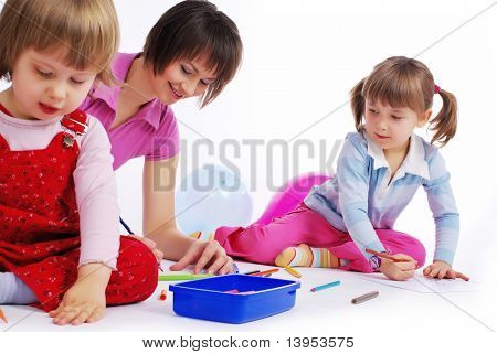 mother and her two daughters painting