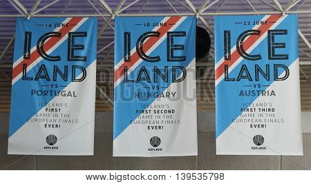 ICELAND - JULY 6, 2016: Iceland soccer team banner in the memory of Euro Cup 2016 games in Keflavik International Airport