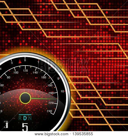 Illustration of Speedometer background with effect of fire