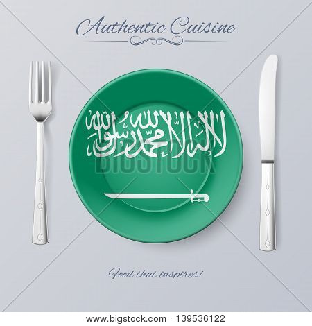 Authentic Cuisine of Saudi Arabia. Plate with Flag and Cutlery