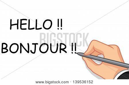 male hand cartoon writing hello and bonjour