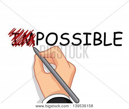 male hand cartoon writing possible from impossible