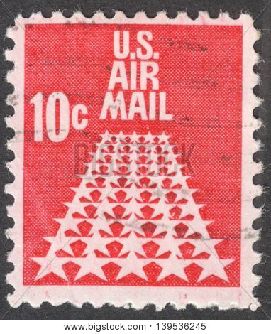 MOSCOW RUSSIA - JANUARY 2016: a post stamp printed in the USA shows fifty stars as a runway the series