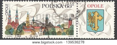 MOSCOW RUSSIA - JANUARY 2016: a post stamp printed in POLAND shows view of Opole town the series