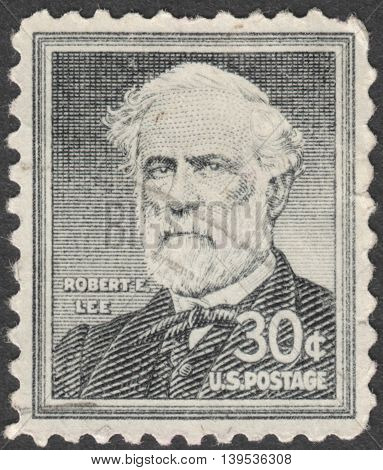 MOSCOW RUSSIA - JANUARY 2016: a post stamp printed in the USA shows a portrait of General Robert E. Lee the series