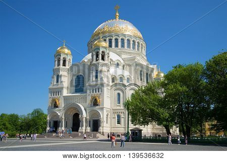 KRONSTADT, RUSSIA - MAY 24, 2014: Marine St. Nicholas Cathedral on the Anchor square, sunny may day. Religious landmark  of the city Kronshtadt, Russia