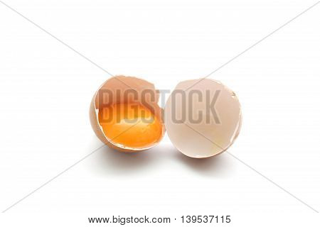 close up broken egg isolated on white background