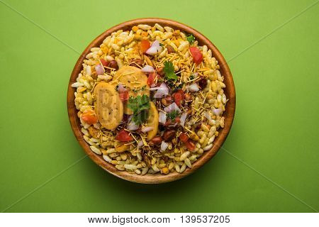 Indian popular chat or snack item called Bhel or Bhelpuri