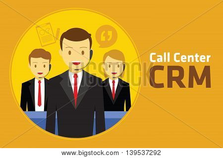 crm customer relationship management vector illustrator design