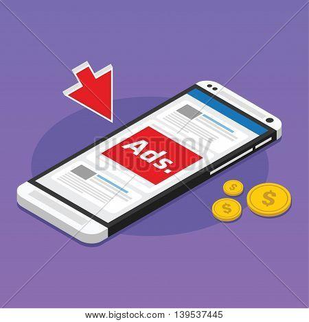 mobile advertising social media sponsored vector illustration