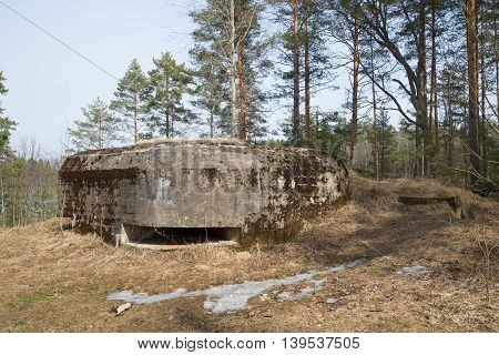 Machine-gun bunker during the Second world war in Lembolovsky battalion line of defense, april day. Leningrad region